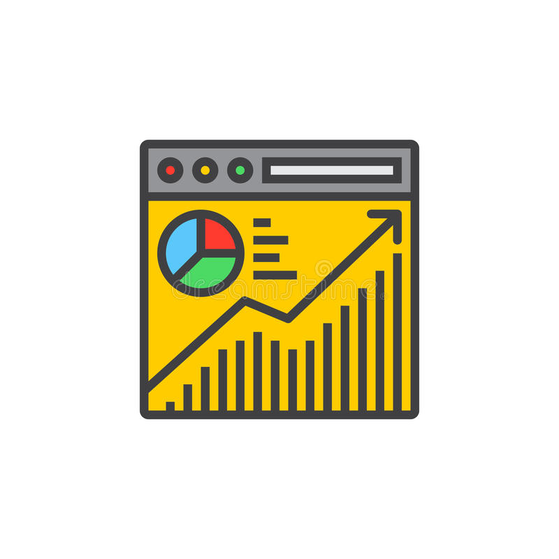 Strona internetowa ruchu drogowego analizy linii ikona, wypełniający konturu wektoru znak royalty ilustracja