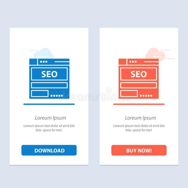 Strona internetowa, serwer, dane, sieci Widget karty szablon, Gości Teraz, Seo, techniki, Błękitnej i Czerwonej ściągania i zakup ilustracji
