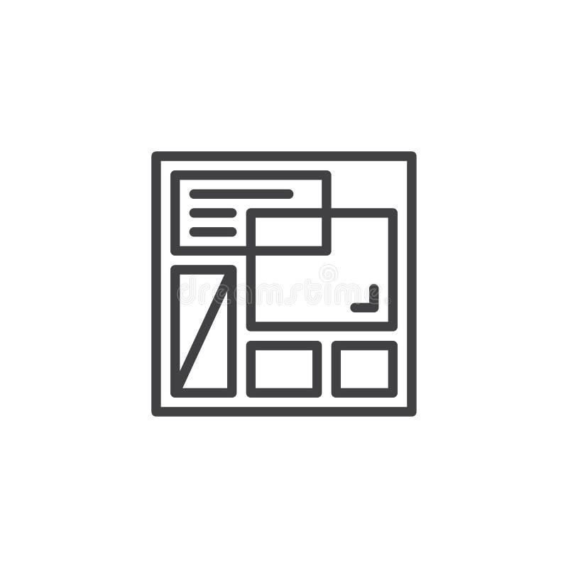 Strona internetowa szablonu konturu ikona ilustracji