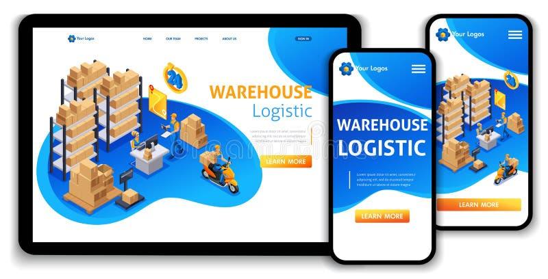Strona internetowa szablonu lądowania strony pojęcia Isometric obsługa klienta, doręczeniowa usługa, Magazynowy Logistycznie, prz ilustracji