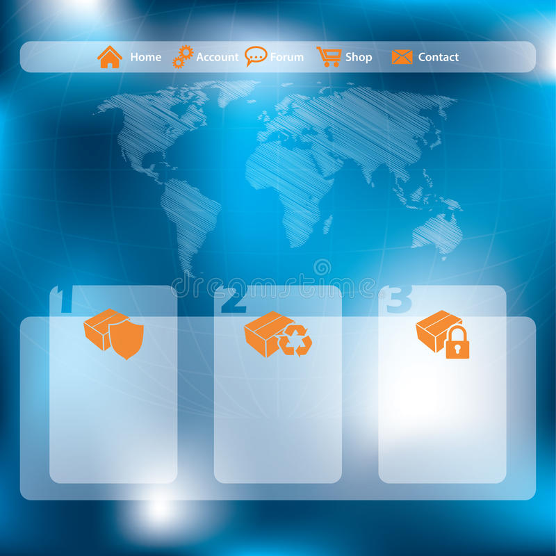 Strona internetowa szablonu projekt z abstrakcjonistycznym błękitnym tłem ilustracji