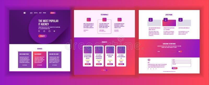 Strona internetowa szablonu wektor Strona biznesu interfejs Desantowa strona internetowa Wyczulony Ux projekt Sposobności forma t royalty ilustracja