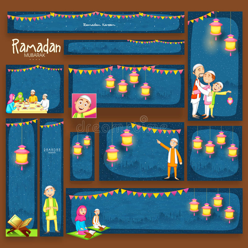 Strona internetowa sztandar dla Ramadan Kareem świętowania lub chodnikowiec