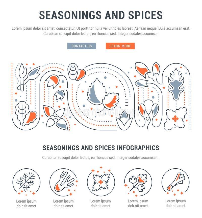 Strona internetowa sztandar i lądowanie strona Seasonings i pikantność ilustracja wektor