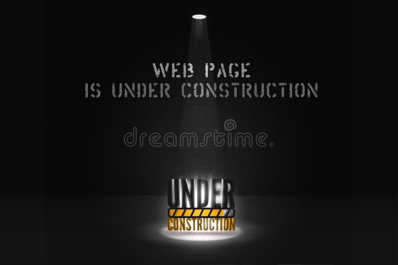 Strona internetowa sztandar przychodzi wkr?tce z floodlight na ciemnej scenie W budowie tekst w ?wiat?o reflektor?w ilustracja wektor