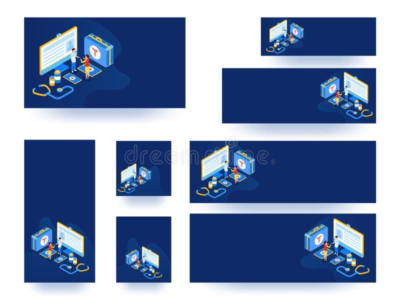 Strona internetowa sztandar, szablon kolekcja lub set lub Isometric widok royalty ilustracja