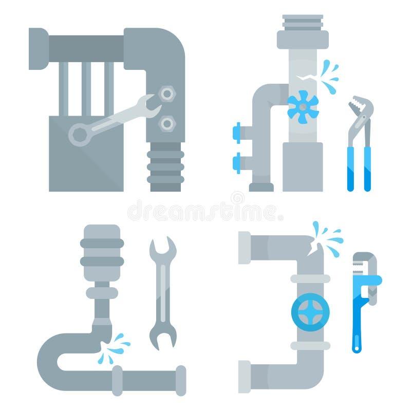 Strona internetowa sztandary instalacj wodnokanalizacyjnych usługa royalty ilustracja