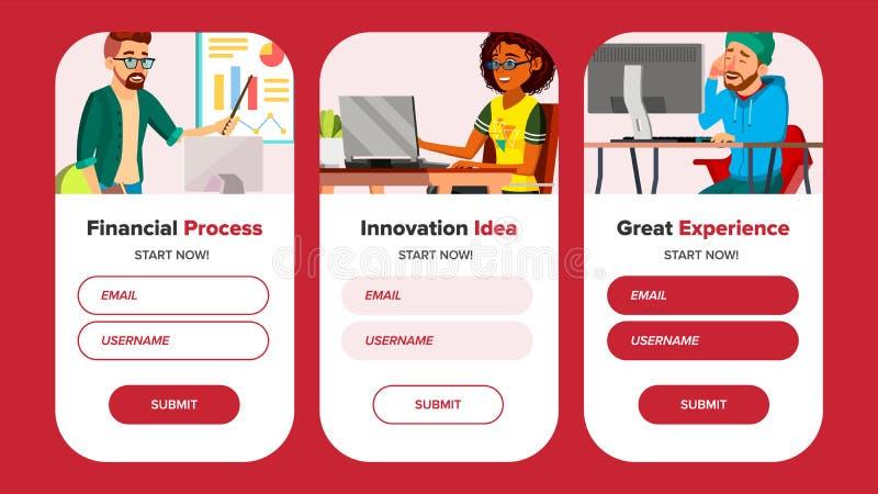 Strona Internetowa sztandary Wektorowi Biznesowy interfejs IT technologia kreskówki osoba Onboarding ekran Optymalizacja postęp royalty ilustracja