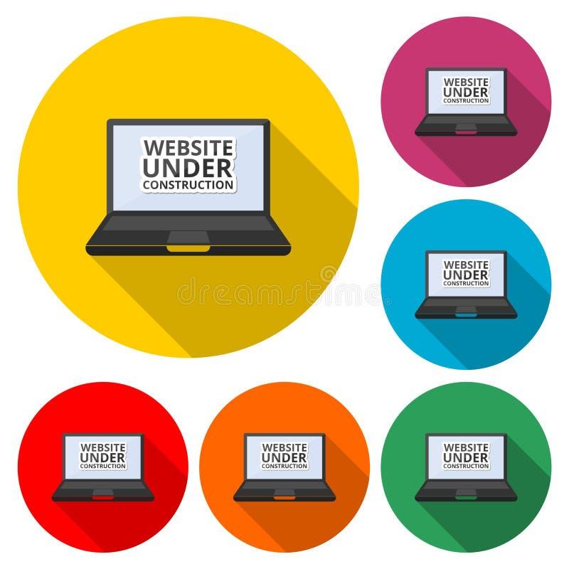 Strona internetowa w budowie, laptop ikona lub logo, koloru set z długim cieniem royalty ilustracja