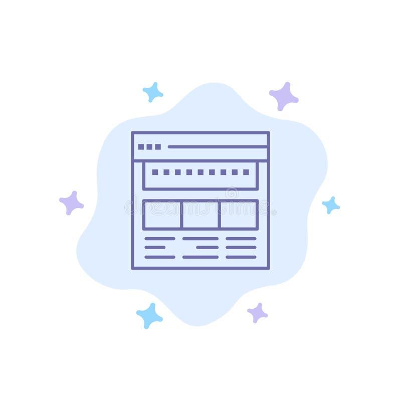 Strona internetowa, wyszukiwarka, biznes, Korporacyjny, strona, sieć, Webpage Błękitna ikona na abstrakt chmury tle ilustracja wektor