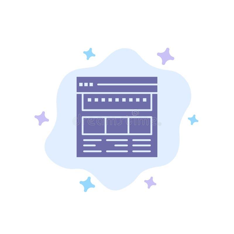 Strona internetowa, wyszukiwarka, biznes, Korporacyjny, strona, sieć, Webpage Błękitna ikona na abstrakt chmury tle royalty ilustracja