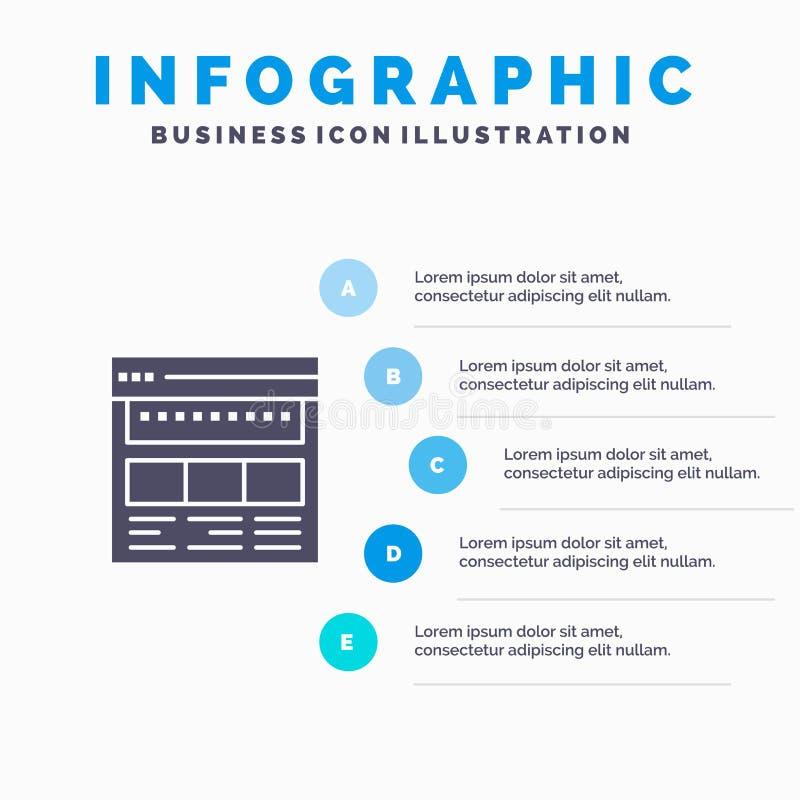 Strona internetowa, wyszukiwarka, biznes, Korporacyjny, strona, sieć, Webpage ikony Infographics 5 kroków prezentacji Stały tło royalty ilustracja