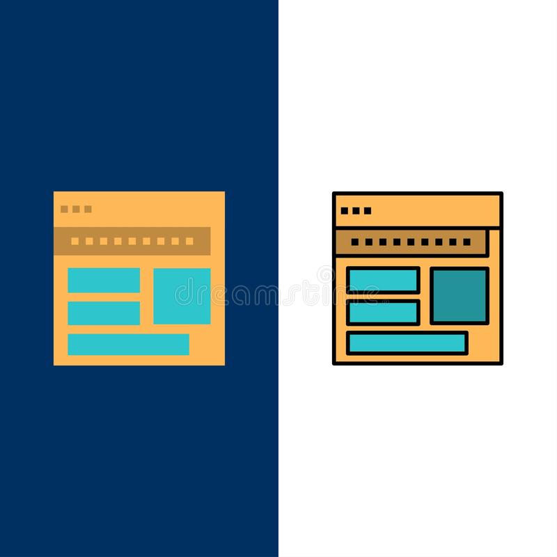 Strona internetowa, wyszukiwarka, biznes, Korporacyjny, strona, sieć, Webpage ikony Mieszkanie i linia Wypełniający ikony Ustalon ilustracji