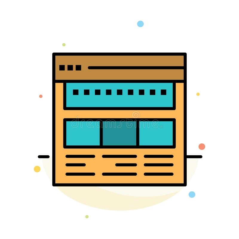 Strona internetowa, wyszukiwarka, biznes, Korporacyjny, strona, sieć, Webpage koloru ikony Abstrakcjonistyczny Płaski szablon ilustracji