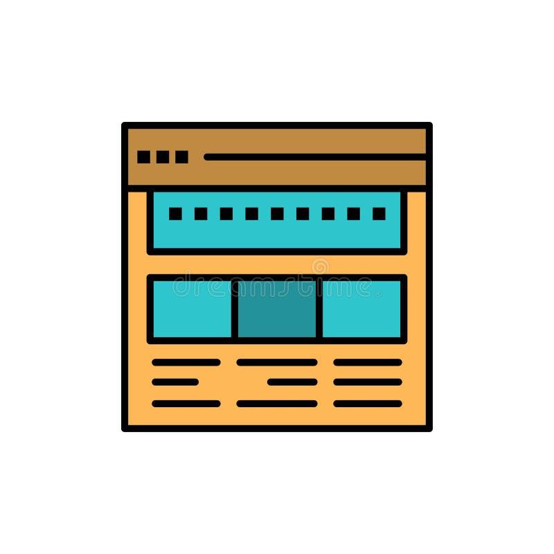 Strona internetowa, wyszukiwarka, biznes, Korporacyjny, strona, sieć, Webpage koloru Płaska ikona Wektorowy ikona sztandaru szabl royalty ilustracja