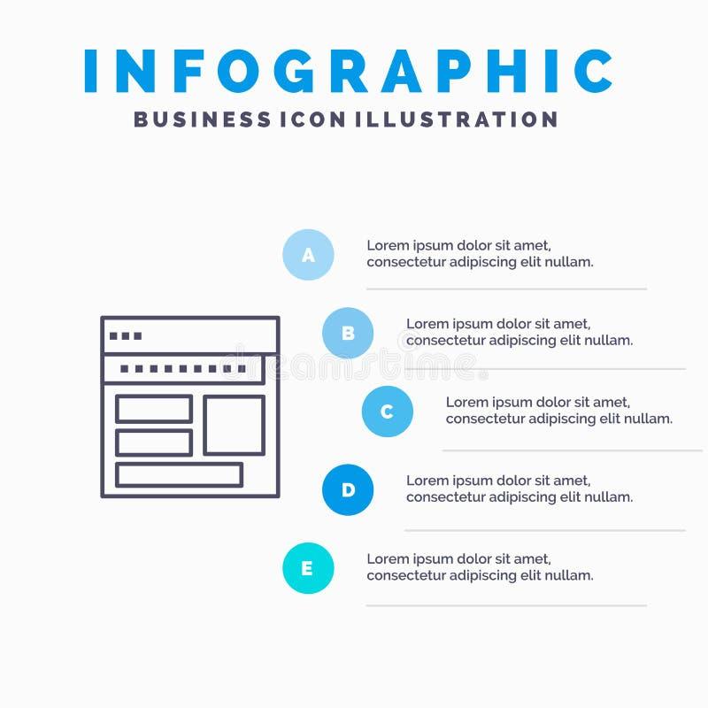 Strona internetowa, wyszukiwarka, biznes, Korporacyjny, strona, sieć, Webpage Kreskowa ikona z 5 kroków prezentacji infographics  ilustracji