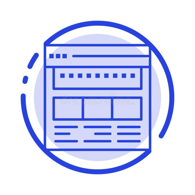 Strona internetowa, wyszukiwarka, biznes, Korporacyjny, strona, sieć, Webpage linii linii błękit Kropkująca ikona royalty ilustracja