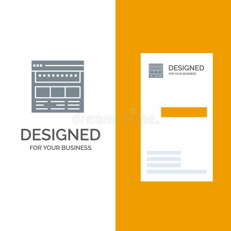 Strona internetowa, wyszukiwarka, biznes, Korporacyjny, strona, sieć, Webpage logo Popielaty projekt i wizytówka szablon, ilustracji