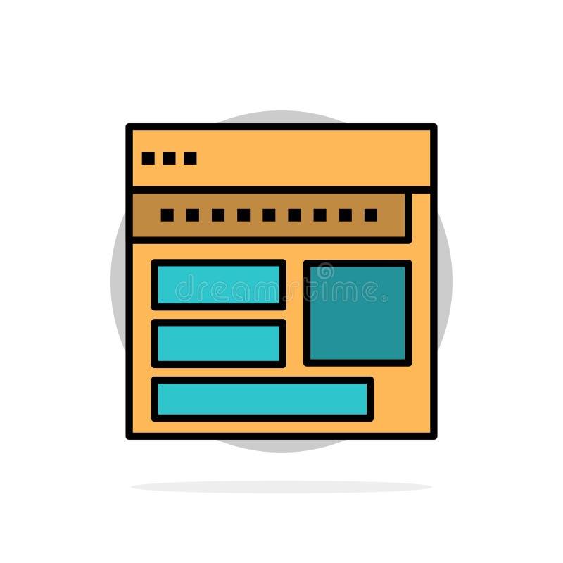 Strona internetowa, wyszukiwarka, biznes, Korporacyjny, strona, sieć, Webpage okręgu Abstrakcjonistycznego tła koloru Płaska ikon royalty ilustracja