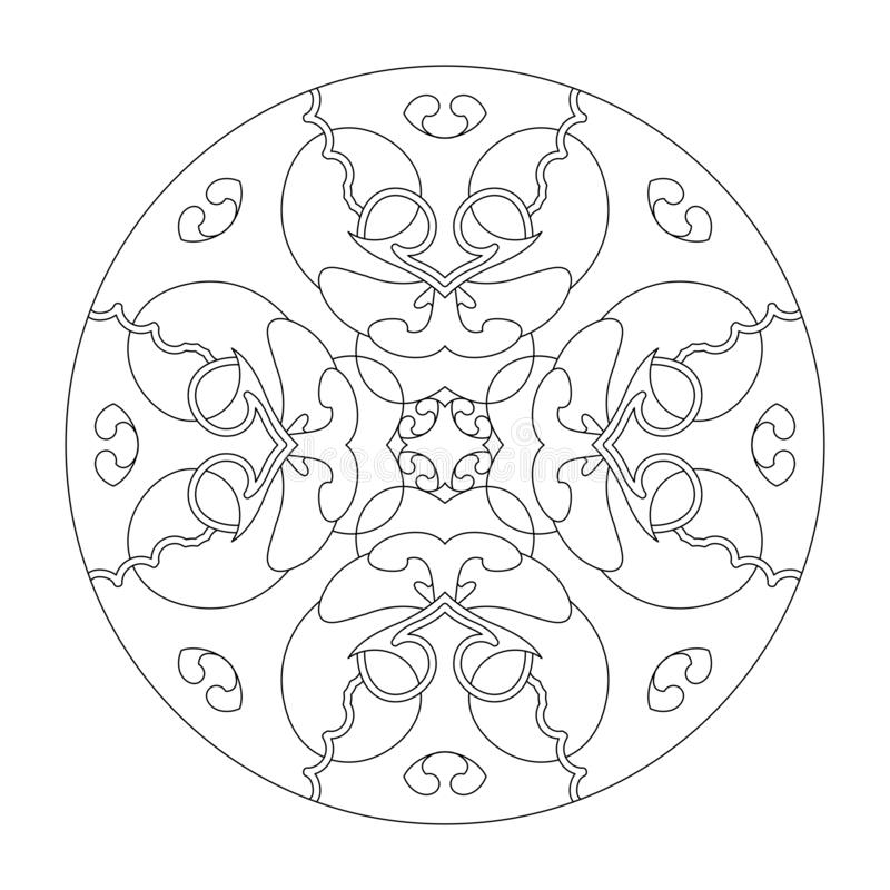 Strona kolorowania Mandala Mandala serc Strona kolorowania, wektor ilustracji czarno-biały Terapia Sztuki Elementy dekoracyjne obrazy stock