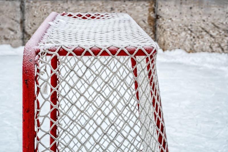 Strona oszroniejący hokejowy lodowisko cel obraz stock