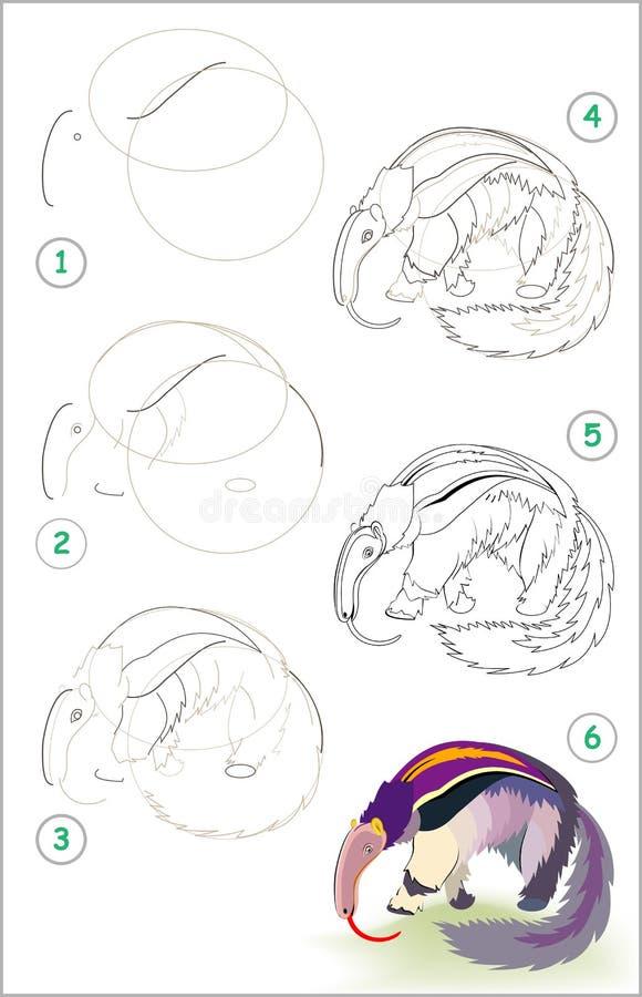 Strona pokazuje dlaczego uczyć się rysować ślicznego anteater krok po kroku Rozwija dziecko umiejętności dla rysować i barwić nie ilustracji