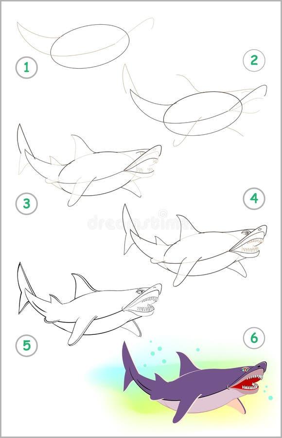 Strona pokazuje dlaczego uczyć się rysować ślicznego rekinu krok po kroku ilustracji
