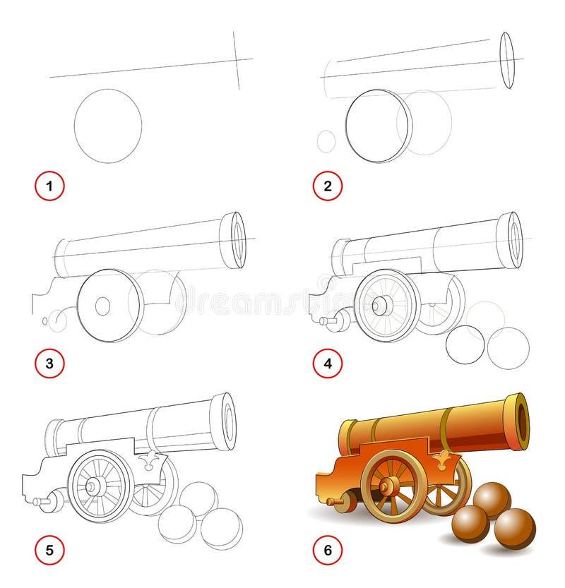 Strona pokazuje dlaczego uczyć się rysować działo krok po kroku, typ używać w artylerii wojskowego pistolet ilustracja wektor