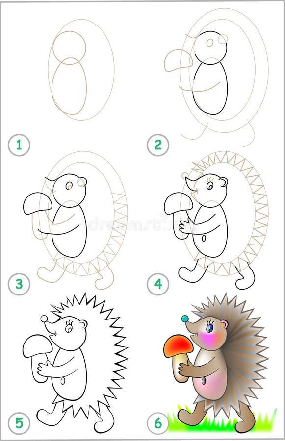 Strona pokazuje dlaczego uczyć się rysować jeża krok po kroku ilustracji