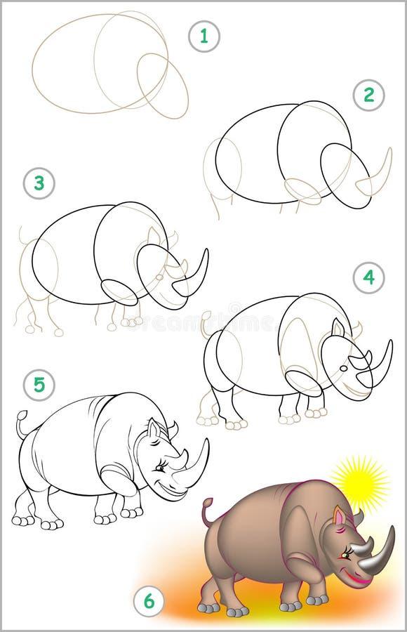 Strona pokazuje dlaczego uczyć się rysować nosorożec krok po kroku ilustracji