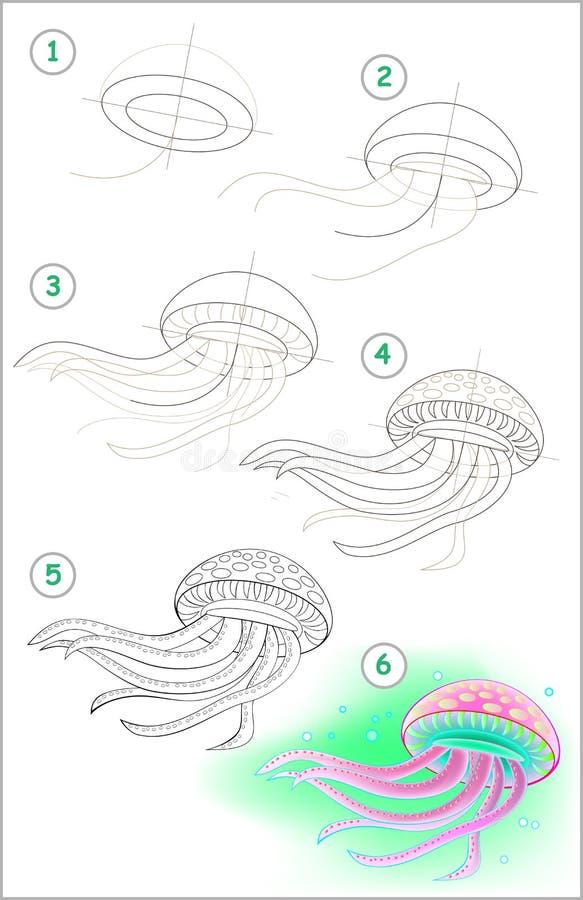 Strona pokazuje dlaczego uczyć się rysować pływacką meduzę krok po kroku ilustracja wektor