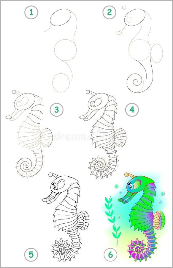 Strona pokazuje dlaczego uczyć się rysować seahorse krok po kroku ilustracji