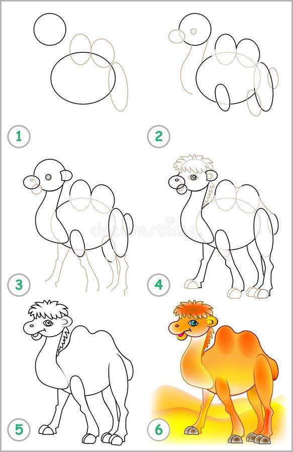 Strona pokazuje dlaczego uczyć się rysować wielbłąda krok po kroku ilustracji