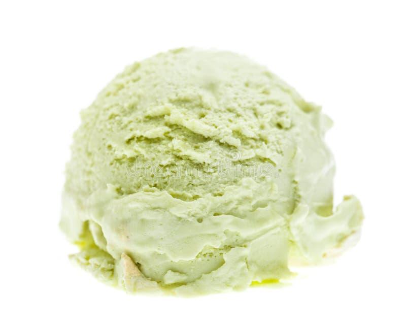 Strona przeglądał miarkę odizolowywającą na białym tle pistacjowy lody zdjęcie royalty free