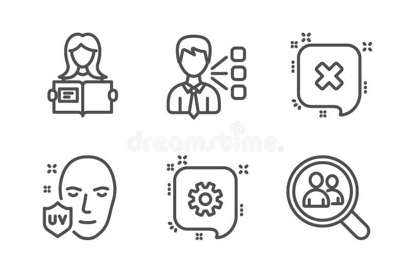 Strona trzecia, Cogwheel i kobieta, czytamy ikony ustawia? Ultrafioletowa ochrona, pracownicy, odrzutu i rewizji podpisujemy wekt ilustracja wektor
