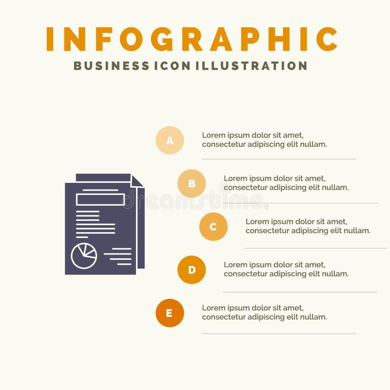 Strona, układ, raport, prezentacji ikony Infographics 5 kroków prezentacji Stały tło ilustracja wektor