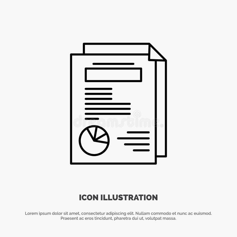 Strona, układ, raport, prezentacji ikony Kreskowy wektor ilustracja wektor
