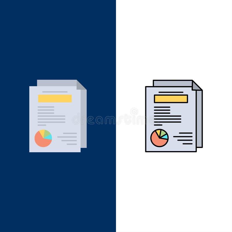 Strona, układ, raport, prezentacji ikony Mieszkanie i linia Wypełniający ikony Ustalony Wektorowy Błękitny tło royalty ilustracja