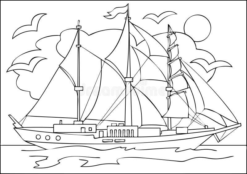 Strona z czarny i biały rysunkiem żeglowanie statek dla barwić ilustracja wektor