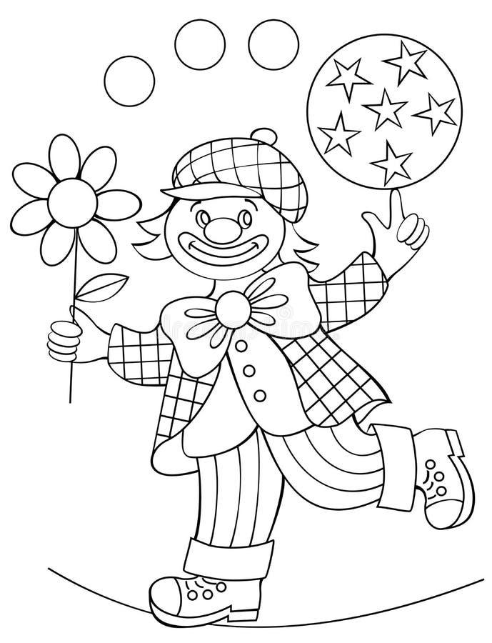 Strona z czarny i biały rysunkiem błazen dla barwić ilustracji