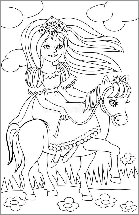 Strona z czarny i biały rysunkiem jeździecki princess dla barwić ilustracja wektor