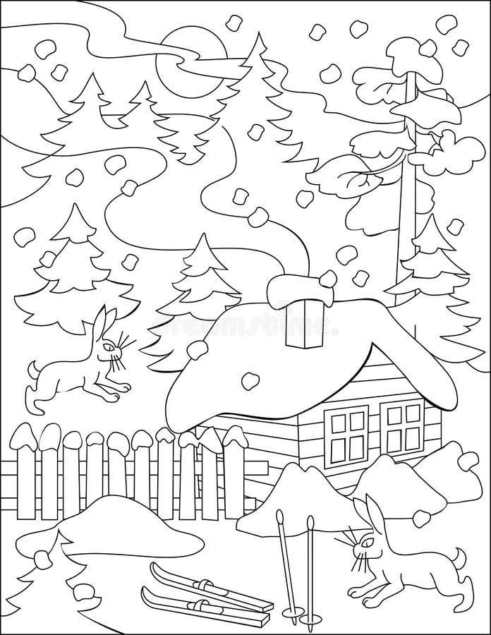 Strona z czarny i biały rysunkiem zima dla barwić royalty ilustracja