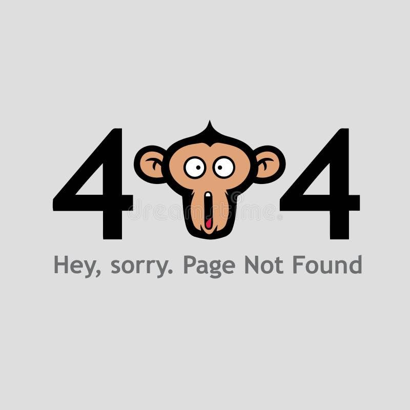 404 strona Znajdująca z Małpiej twarzy Krzyczącym Ilustracyjnym Wektorowym szablonem royalty ilustracja