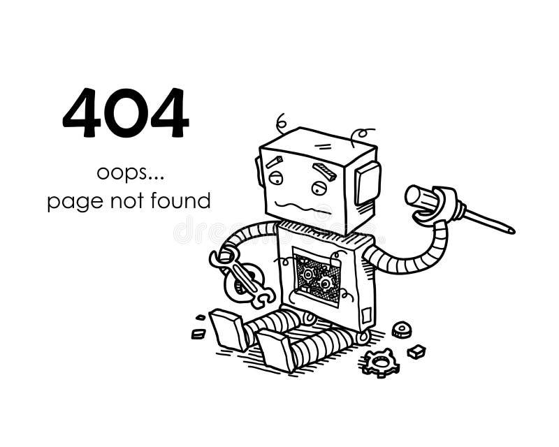 Strona znajdujący błąd 404 ilustracji