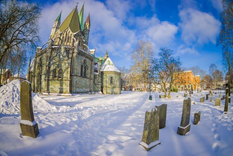 STRONDHEIM, NORUEGA - 6 DE ABRIL DE 2018: Edificio magnífico del inTrondheim de la catedral de Nidarosdomen - de Nidaros, Noruega fotografía de archivo libre de regalías