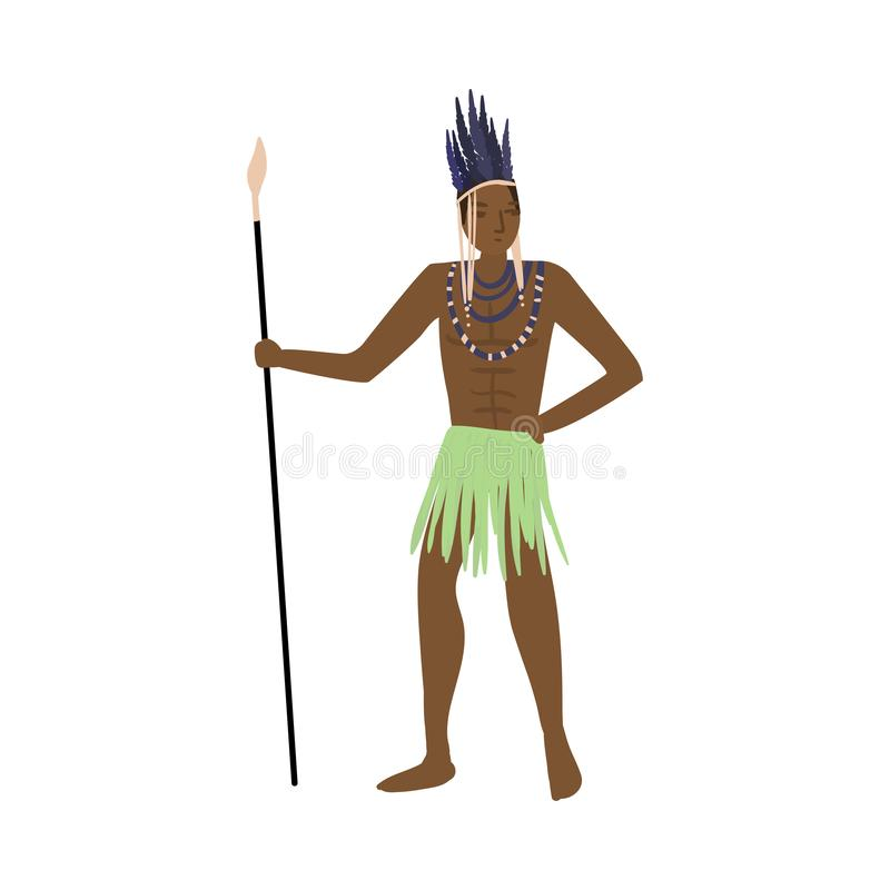 Strong african aborigine warrior with feathers headwear and lance. Strong african aborigine warrior with feathers headwear and long metal lance. Flat style royalty free illustration