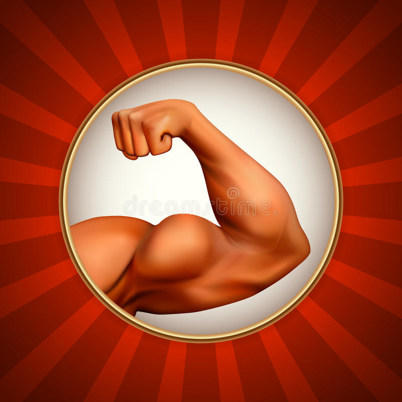 Strong arm. Illustration with detailed strong arm. Power symbol royalty free illustration