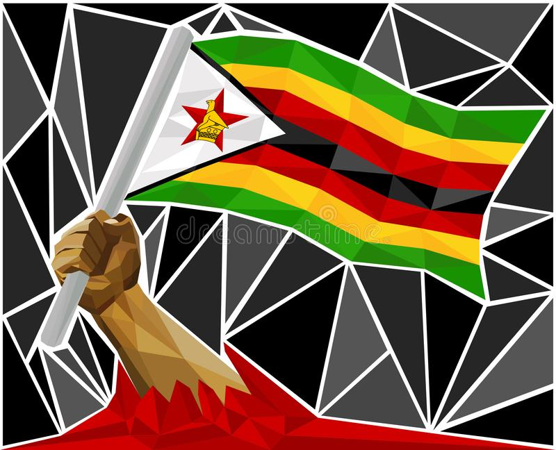 Arm Raising The National Flag Of Zimbabwe vector illustration