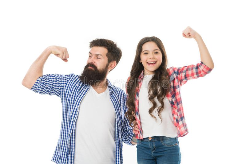 Strong as my father. Child and dad best friends show biceps gesture. Parenthood and childhood. Fathers day concept royalty free stock photos
