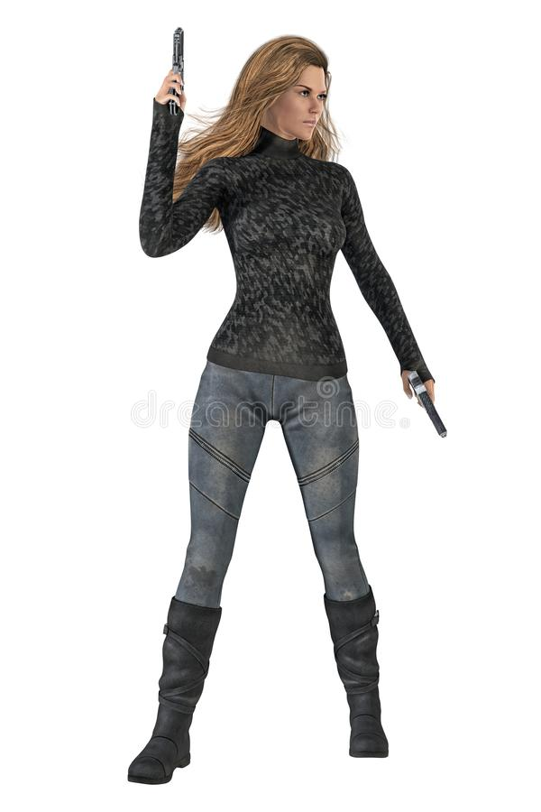 Strong assertive woman holding two guns in a ready for action pose. Isolated on a white background. 3D digital illustrated render of a strong assertive woman vector illustration